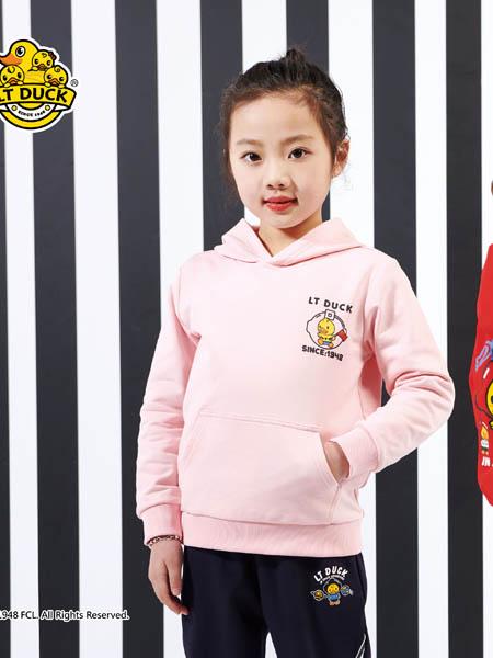 小黄鸭青少年童装品牌2020秋冬粉色带帽卫衣