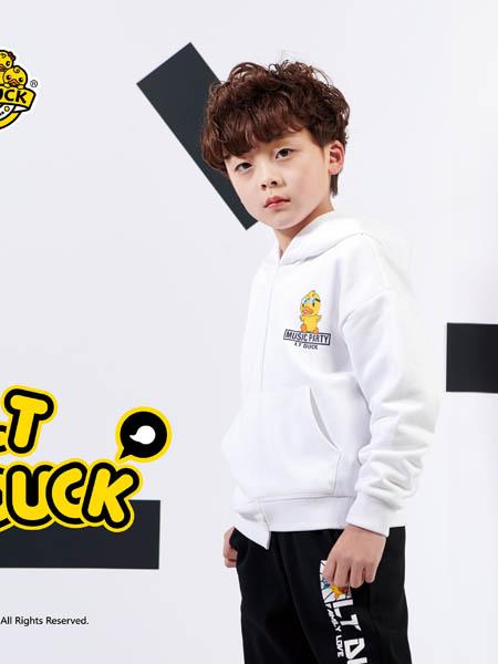 小黄鸭青少年童装品牌2020秋冬白色带帽外套