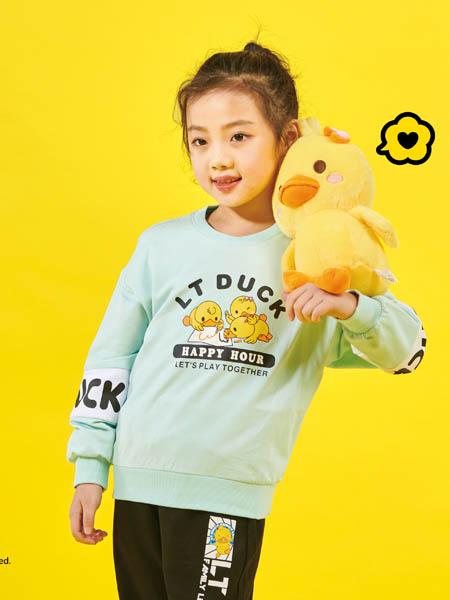 小黄鸭青少年童装品牌2020秋冬青色卡通上衣