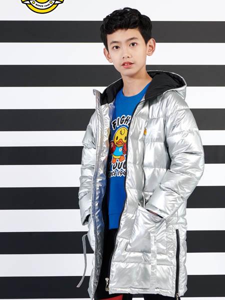 小黄鸭青少年童装品牌2020秋冬银色带帽羽绒服