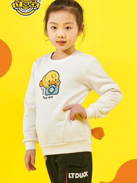 小黄鸭青少年童装品牌2020秋冬白色卡通上衣