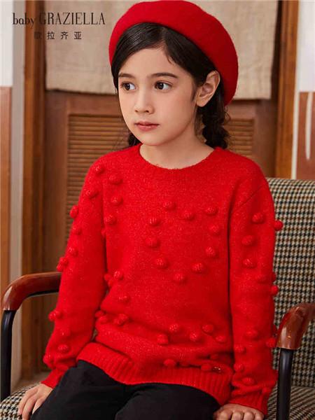 歌拉齐亚baby Graziella童装品牌2020秋冬红色毛球可爱针织衫