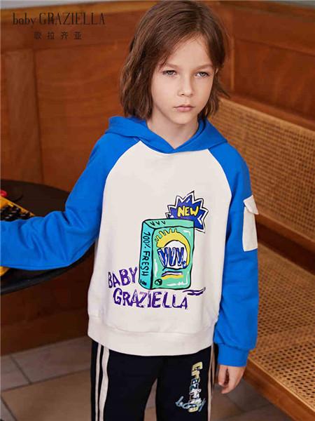 歌拉齐亚baby Graziella童装品牌2020秋冬蓝色字母图案拼接卫衣