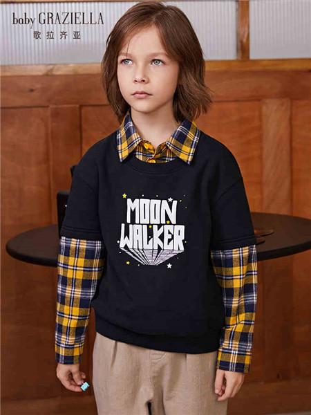 歌拉齐亚baby Graziella童装品牌2020秋冬拼接格子黑色字母针织衫