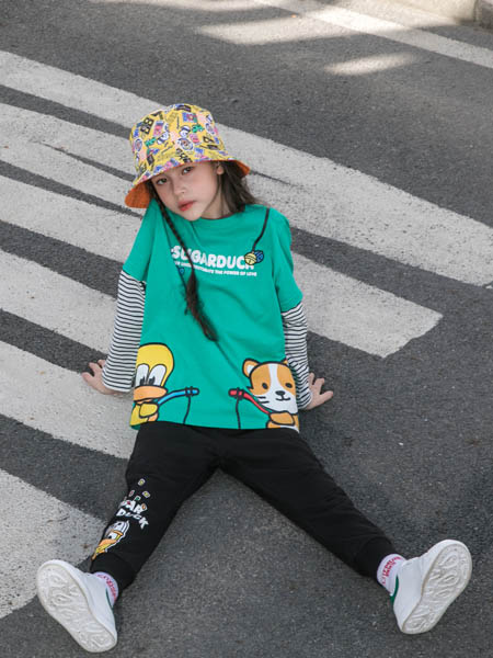 SugarDuck童装品牌2020秋冬青色条纹假两件卫衣