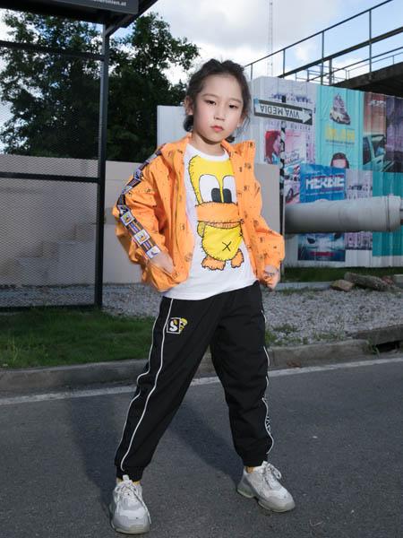 SugarDuck童装品牌2020秋冬潮流橘色字母外套