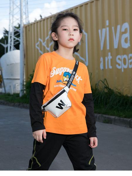 SugarDuck童装品牌2020秋冬字母橘色假两件长袖上衣