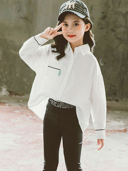果萱童装品牌2020秋冬白色立领衬衫