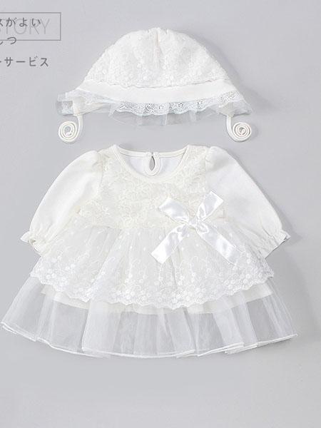 超尚童�b品牌2020秋冬可�垩┘�白色�����B衣裙