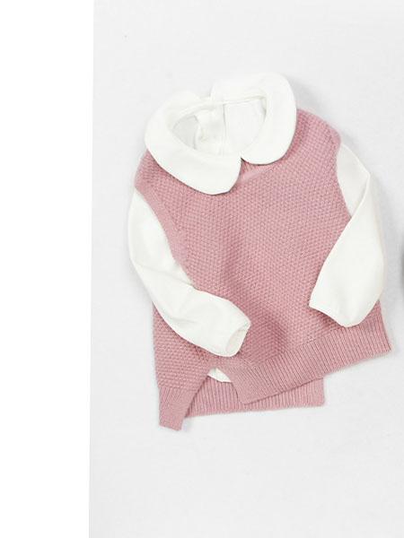 超尚童装品牌2020秋冬针织粉色立领上衣