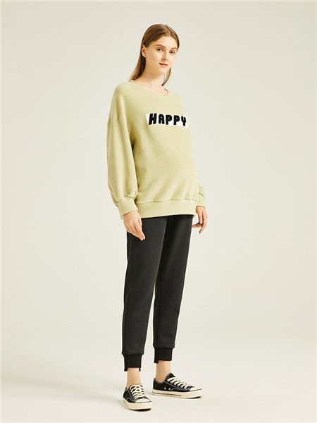 快乐屋HAPPYHOUSE孕妇品牌灯芯绒字母青色显瘦孕妇上衣
