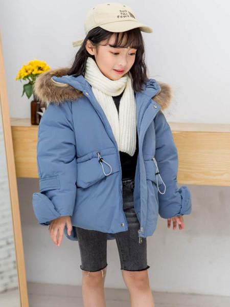宾果童话童装品牌2020秋冬蓝色时尚羽绒服