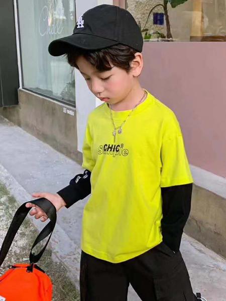 宾果童话童装品牌2020秋冬青色假两件T恤