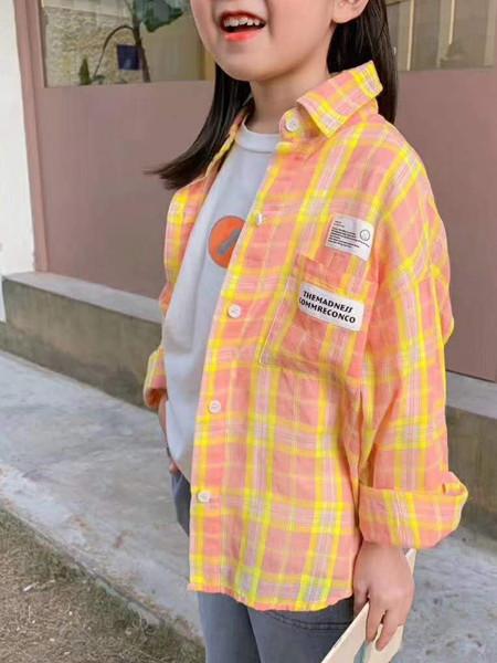 宾果童话童装品牌2020秋冬红色格子立领外套