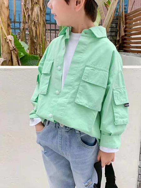 宾果童话童装品牌2020秋冬青色口袋立领开衫