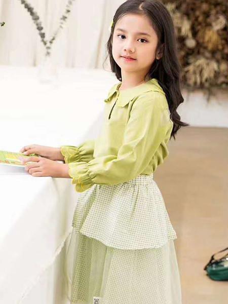 宾果童话童装品牌2020秋冬可爱青色立领衬衫