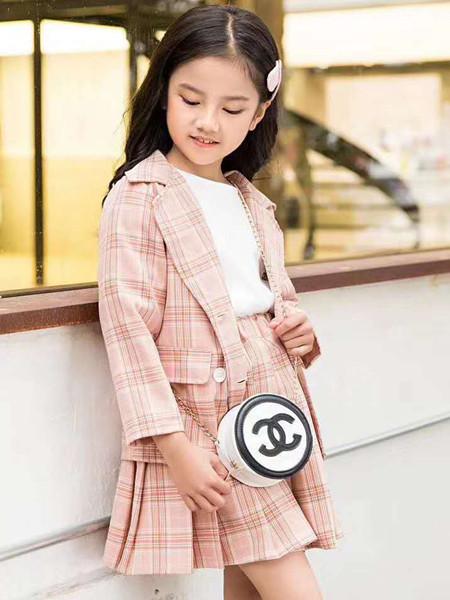 宾果童话童装品牌2020秋冬木耳边粉色格子套装