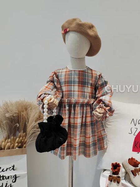 初羽Kids童装品牌2020秋冬红色格子圆领连衣裙