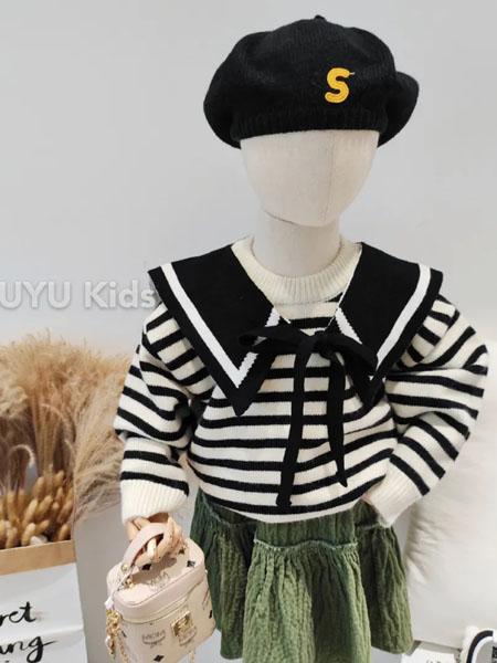 初羽Kids童装品牌2020秋冬海军条纹针织衫