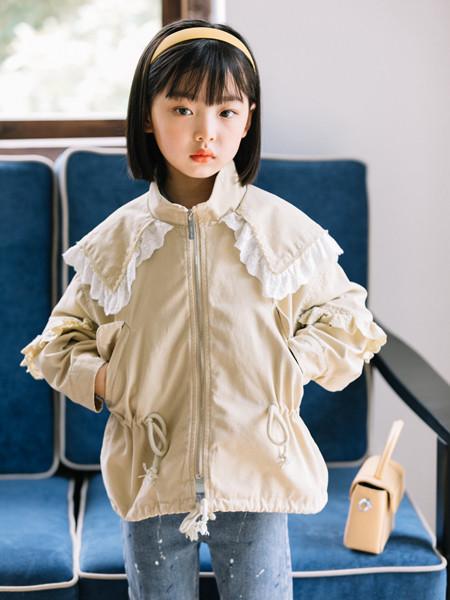 小嗨皮童装品牌2020秋冬花边立领衣袋外套