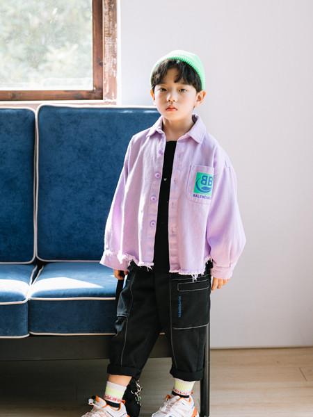 小嗨皮童装品牌2020秋冬紫色立领薄外套