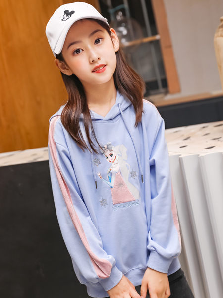 123童装童装品牌2020秋冬蓝色卡通带帽卫衣