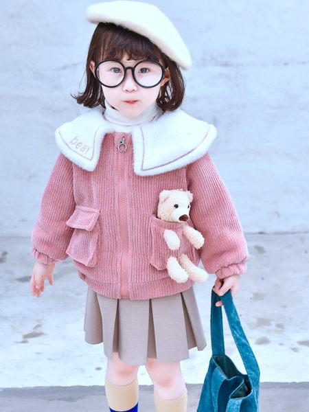 123童装童装品牌2020秋冬条纹针织粉色上衣