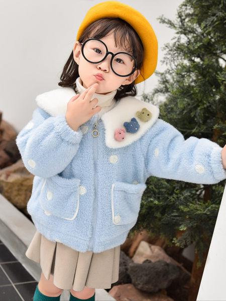 123童装童装品牌2020秋冬蓝色波点加绒毛呢外套