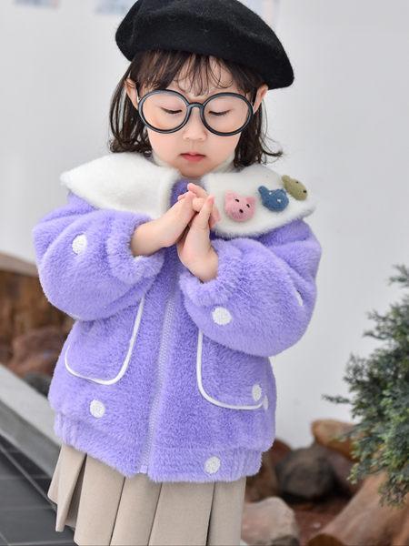 123童装童装品牌2020秋冬紫色波点外套