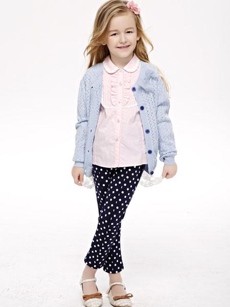 艾典典童装品牌2020秋冬蓝色针织外套