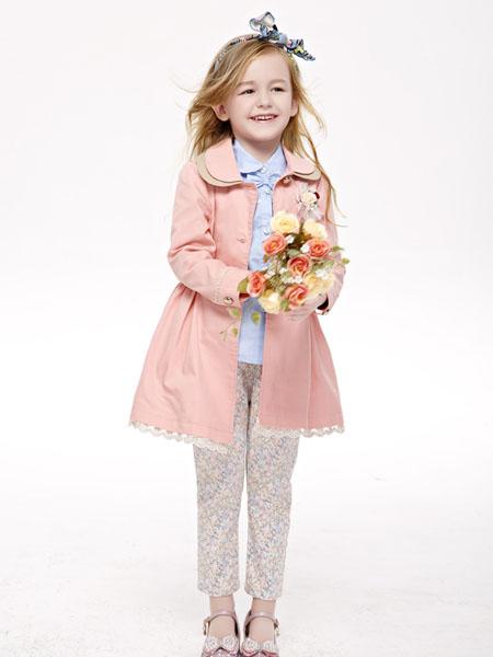 艾典典童装品牌2020秋冬粉色时尚长款外套