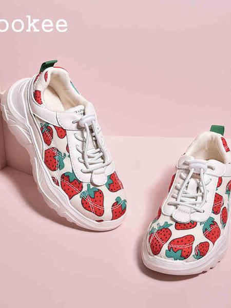 ZOOKEE童鞋品牌2020秋冬草莓白色运动女童鞋