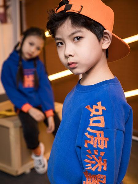 巴迪小虎BaDi Tiger童装品牌2020秋冬汉字蓝色圆领针织衫