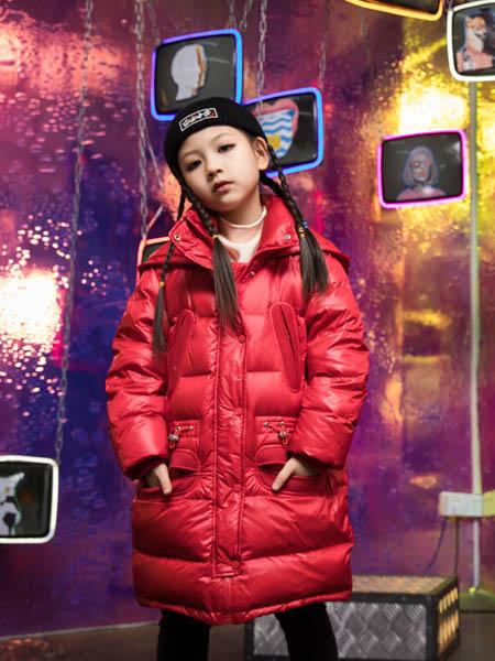 巴迪小虎BaDi Tiger童装品牌2020秋冬红色带帽羽绒服