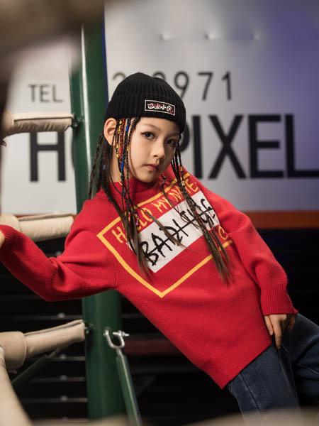 巴迪小虎BaDi Tiger童装品牌2020秋冬字母红色圆领针织衫