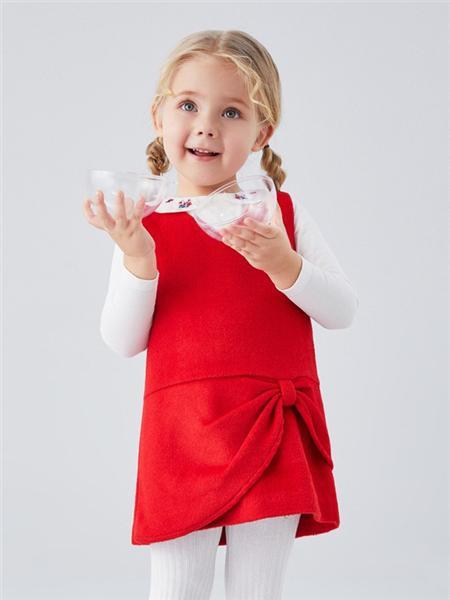 安奈儿童装品牌2020秋冬无袖红色连衣裙