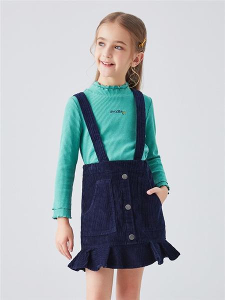 安奈儿童装品牌2020秋冬无袖吊带牛仔半身裙