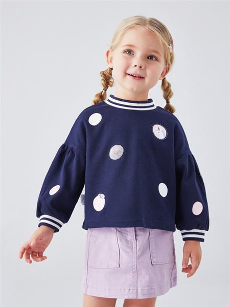 安奈儿童装品牌2020秋冬波点蓝色圆领上衣