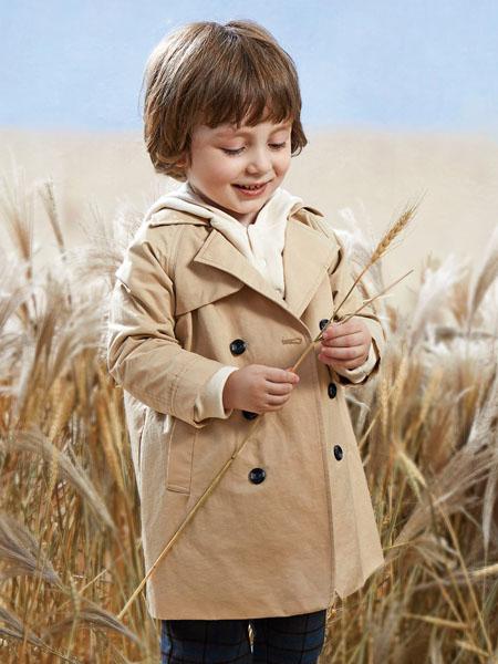阳光鼠童装品牌2020秋冬复古长款大衣