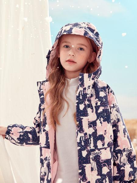 蒙蒙摩米 Mes amis童装品牌2020冬季粉色印花外套