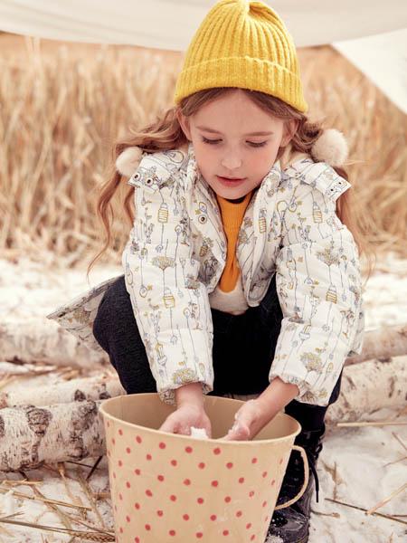 蒙蒙摩米 Mes amis童装品牌2020冬季女款白色印花外套