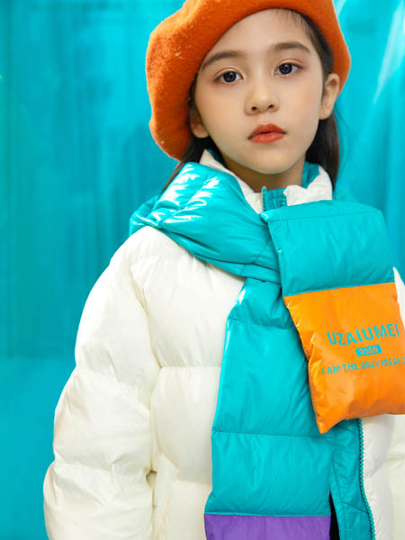 优仔优妹UZUM童装品牌2020秋冬绿色围巾羽绒服