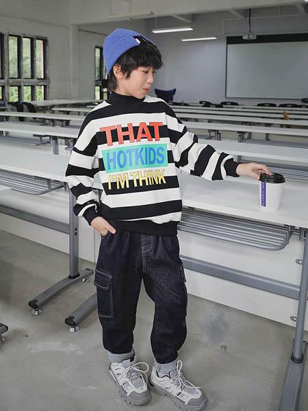 HohTot童装品牌2020秋冬条纹毛衣