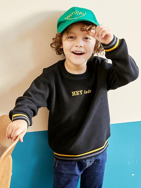 童装品牌2020冬季休闲男大童复合短绒保暖卫衣