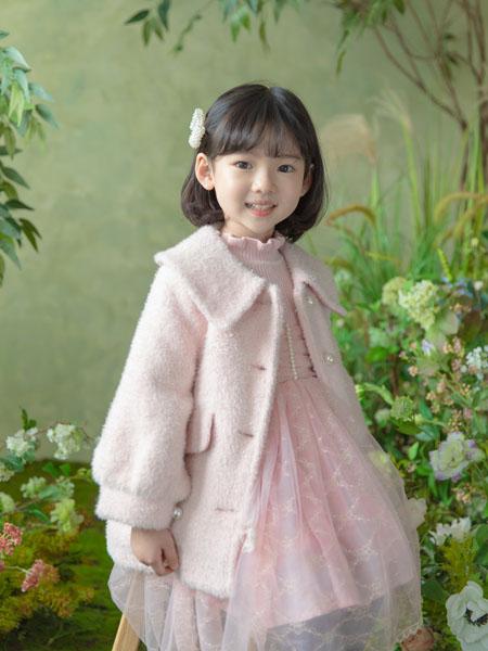 boabo.宝儿宝童装品牌2020冬季粉色毛绒外套