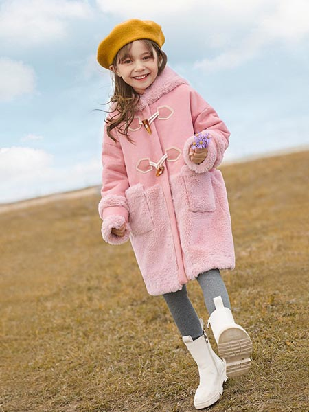 尼尔斯嘉童装品牌2020秋冬粉色毛绒外套