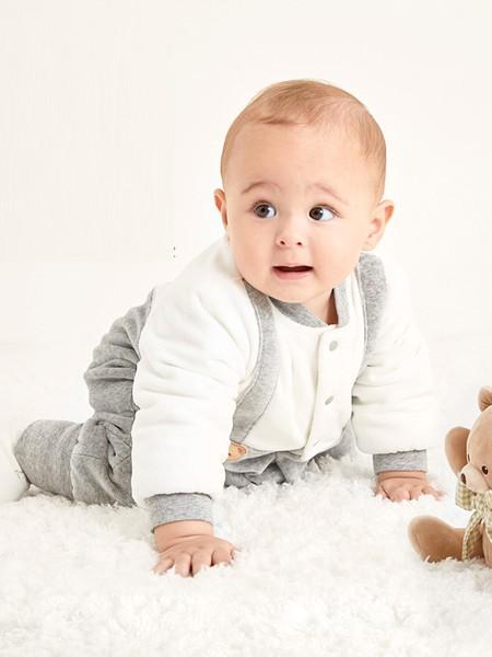 拉比童装品牌2020秋冬灰白爬行服