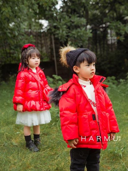 哈沐童装品牌2020秋冬连帽带绒红色外套