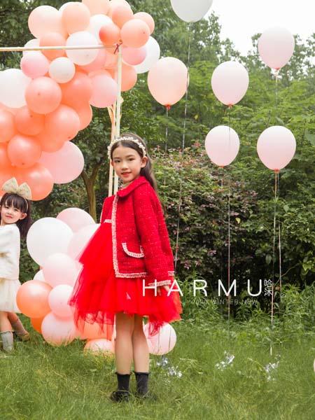 哈沐童装品牌2020秋冬红色白边外套