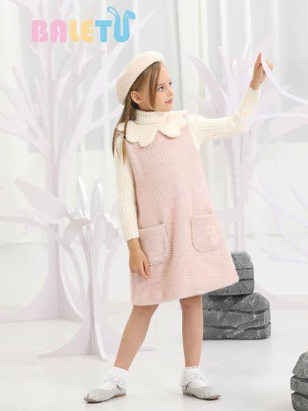芭乐兔童装品牌2020秋冬可爱粉色连衣裙